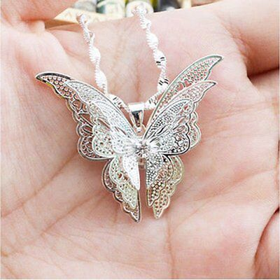 Lovely Xmas Exquisite Charm Silver Butterfly Necklace Pendant Womens Lady Gift