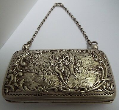 Beautiful Decorative English Antique 1900 Solid Sterling Silver Chatelaine Purse