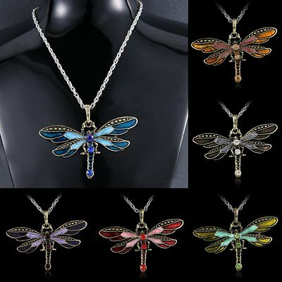 The Hottest Lady's Mens Unisex Jewelry Gift Dragonfly Crystal Pendant Necklace