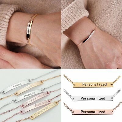 Personalized Custom Letter Engraved Stainless Steel Bangle Chain Bracelet Gifts