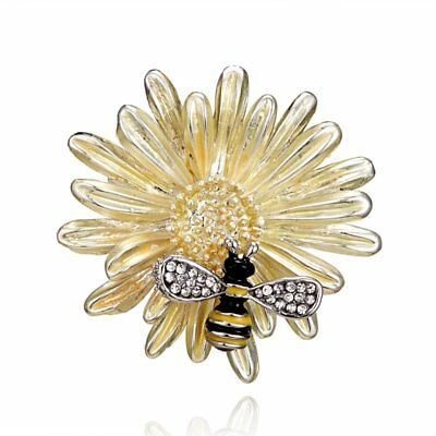Daisy Flower Yellow Bee Brooches Men Women Rhinestone Insects Plants Banquet Hot