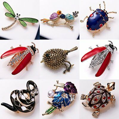 Bird Dragonfly Turtle Animal Rhinestone Costume Brooch Pin Women Party Jewellery
