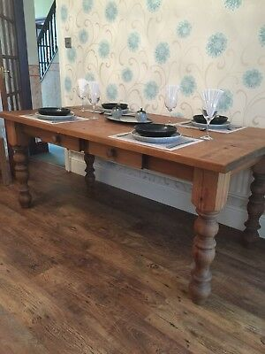 Very Solid Farmhouse Table Pine With Drawers