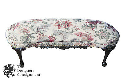 Queen Anne Style Mahogany Kidney Bean Bench Seat Embroidered Floral Vanity Piano