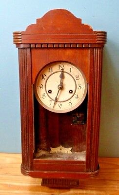 Vintage Wooden/Glass Cased Wall Clock with Key & Pendulum - For Parts/Repair.