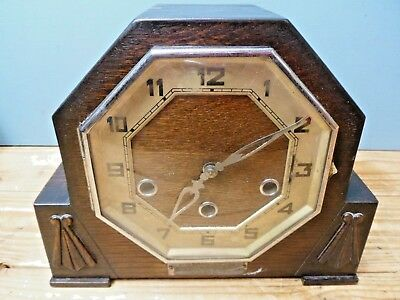 Vintage Art Deco German Oak Mantel Clock with Westminster Chime
