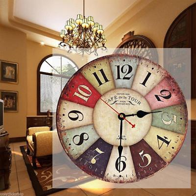 Vintage Wooden Wall Clock Shabby Chic Rustic Retro Kitchen Home Antique Decor MT