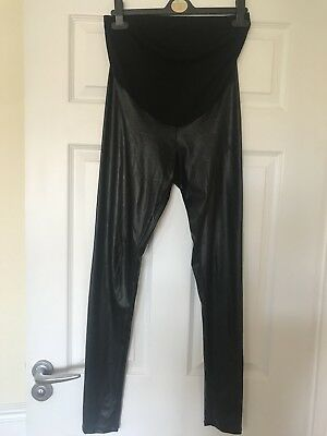 Asos Maternity Leather Look Over The Bump Leggings Size 10