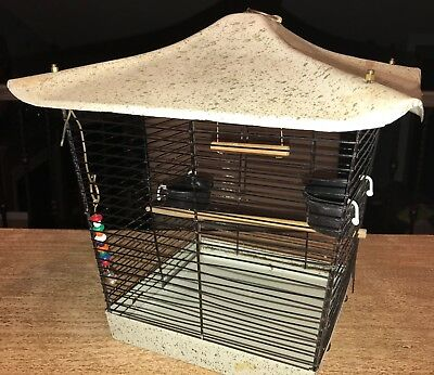 Vintage 60s Bird Cage Metal Body Speckled Pagoda Roof Mid Century Perch Bell EUC