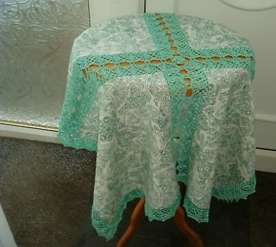 Beautiful Vintage Crochet Lace Edge Thick Cotton Tablecloth Hall Lounge Pretty