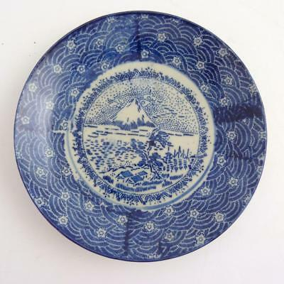 Japanese Blue And White Porcelain Plate Depicting Mount Fuji, 19Th Century