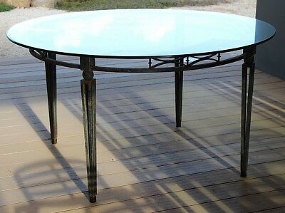 Large Art Deco 1930's French Louis antique dining table wrought iron glass top
