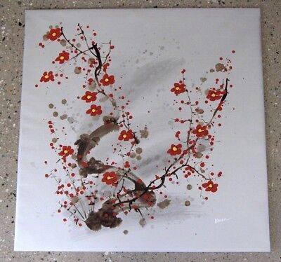 BIG Original oil painting on canvas cherry plum blossoms flowers signed KAREN