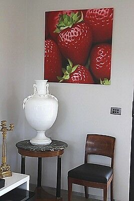 BIG Original oil painting on canvas STRAWBERRIES 20th century signed Julia 88cm