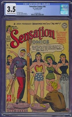 SENSATION COMICS #96, WONDER WOMAN  CGC 3.5 VERY SCARCE from 1950 Free Shipping