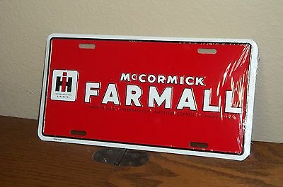 INTERNATIONAL HARVESTER  FARMALL TRACTOR -  Red Metal License Plate, NEW