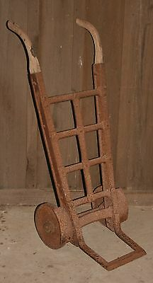 Antique Iron Wheel Hand Truck Dolly Feed Bag Cart Steampunk Decor Coffee Table