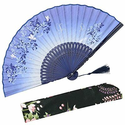 """OMyTea 8.27""""21cm Women Hand Held Silk Folding Fans with Bamboo Frame - With a -"""