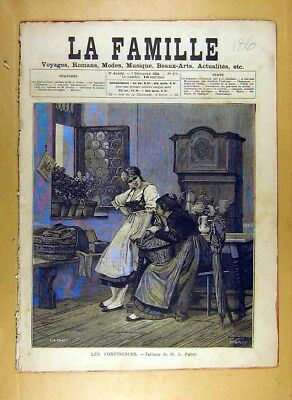 Original Old Antique Print 1884 Painting Confidences Pabst French Fine Art 19th