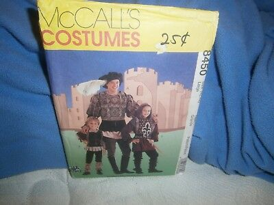 Halloween Costume Pattern McCall's 8450 Men's Medieval Knight Size 42-44