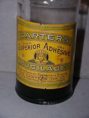 Antique Carters Ink Mucilage Bottle Nice Graphic Label