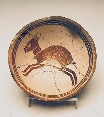 Ancient Mimbres Figural Deer Bowl Red on White (950 AD) 100% Complete
