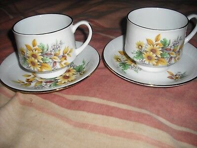 CROWN FENTON FLORAL  CUPS AND SAUCERS  x2