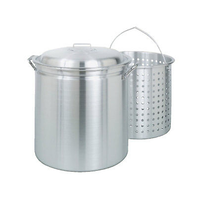 Bayou Large 34 Quart Aluminum Soup Cooking Stockpot with Boil Basket and Lid