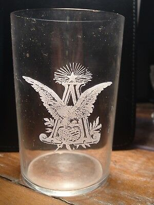 RARE Antique late 1800s Anheuser Busch Pre Pro Etched 3.5 In. Thin wall Glass