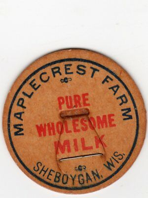 MAPLECREST FARM DAIRY SHEBOYGAN WI PURE RAW MILK, MILK BOTTLE CAP Wisconsin