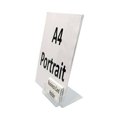 A4 Acrylic Literature Poster Display with Business Card Holder (SU4/BC)
