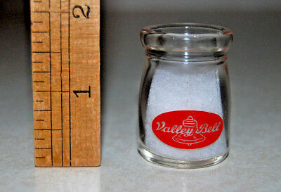 Creamer Size Milk Bottle VALLEY BELL 2-sided Red print *NO CHIPS*