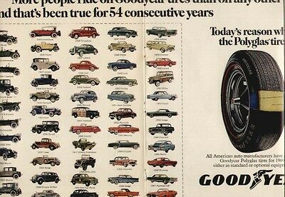 1969 GoodYear ad showing 54 years of different cars from 1915 to 1968