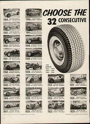 Firestone ad from 1955 showing 32 years of winners at Indy from 1911 to 1954