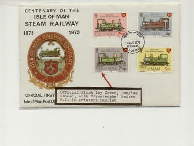 Isle of Man 1973 Railway FDC with 7 1/2p Apostrophe Flaw