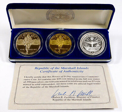 1994 Marshall Islands Heroes of D-Day Commemorative 3-Coin Set