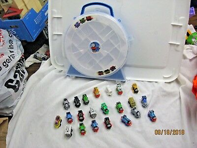 Thomas the Train & Friends lot of 22 mini minis trains and carrying case