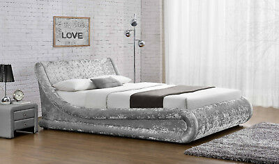 Ottoman Crushed Velvet Double Size Bed Designer Silver Black NEW