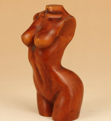 Rare Art Chinese Old Boxwood Hand Carved Great Girl Figure Statue Home decoratio