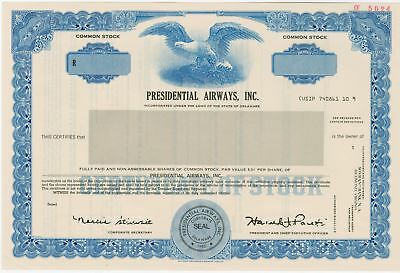 Presidential Airways, Inc. 1985 Specimen IPO Stock Certificate XF Blue SCBN