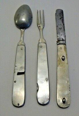 Antique three part folding campaign cutlery set made by John Watts Sheffield