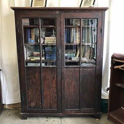 Large antique bookcase with glass doors, well-loved & naturally distressed