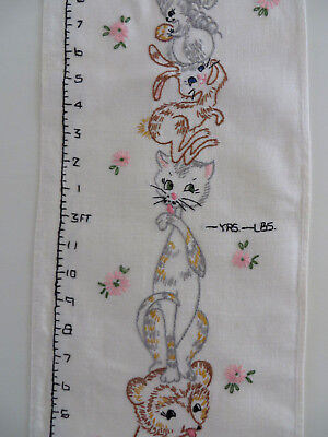 """Vintage Linen Fabric Embroidered Animals Growth Chart 2' to 4'6"""" Ht Age Weight"""