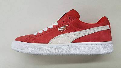 best sneakers 0e5ec ac393 PUMA SUEDE CLASSIC Jr High Risk Red White Gold Kids Size Sneakers 355110-03