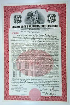 Columbus & Southern Ohio Electric Co., 1957 $1,000 Specimen 4 1/2% Bond, XF ABNC