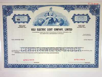 HI. Hilo Electric Light Co., Ltd., 1970s Odd Shrs Specimen Stock Certificate, XF