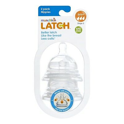 Munchkin Latch Silicone Teats Wide Neck 2 Pack Stages 1 2 or 3 Flow Clearance