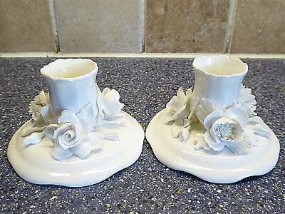 Blanc De Chine Candle Sticks / Holders Roses Floral Staffordshire Not Derby