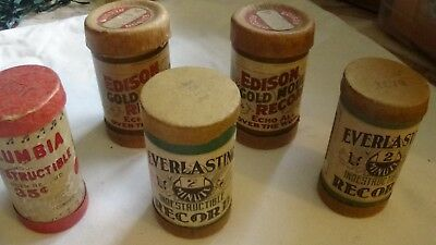 Lot Of 5 Edison/everlasting/columbia Cylinder Records In Canisters With Covers