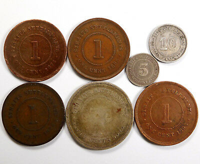 1800's Straits Settlements Coin Lot  - 7 Coins - Late 19th Century